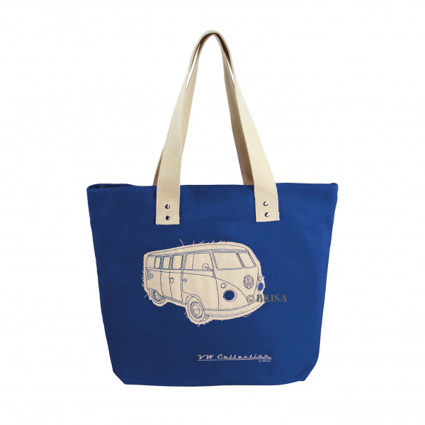 VW Bulli T1 Shopper-Tasche Canvas dunkelblau