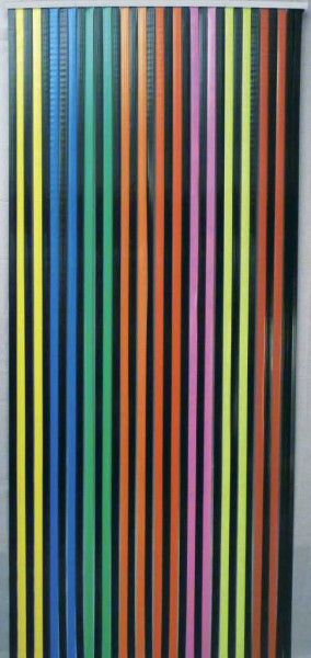 Streifenvorhang multicolor bunt, schwarz