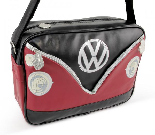 VW Bulli T1 Schultertasche Quer rot schwarz