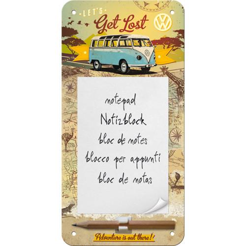 VW Bulli T1 Notizblock-Schild Let's Get Lost