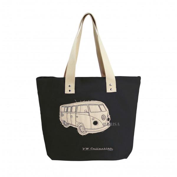 VW Bulli T1 Shopper-Tasche Canvas schwarz