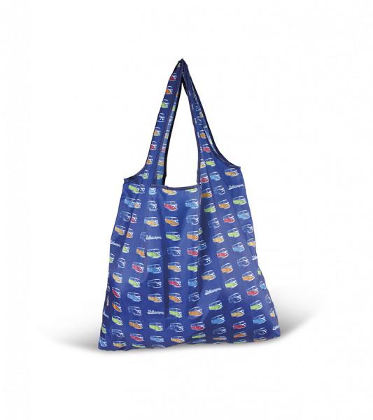 VW Bulli T1 Shopper Tasche Faltbar Polyester Vintage blau
