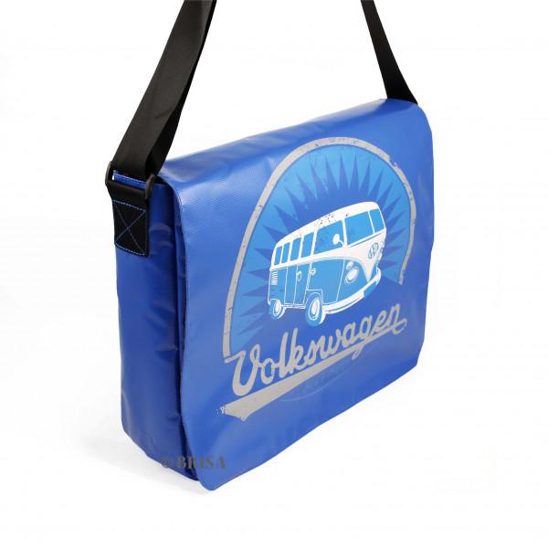 VW Bulli T1 Schultertasche groß Vintage blau