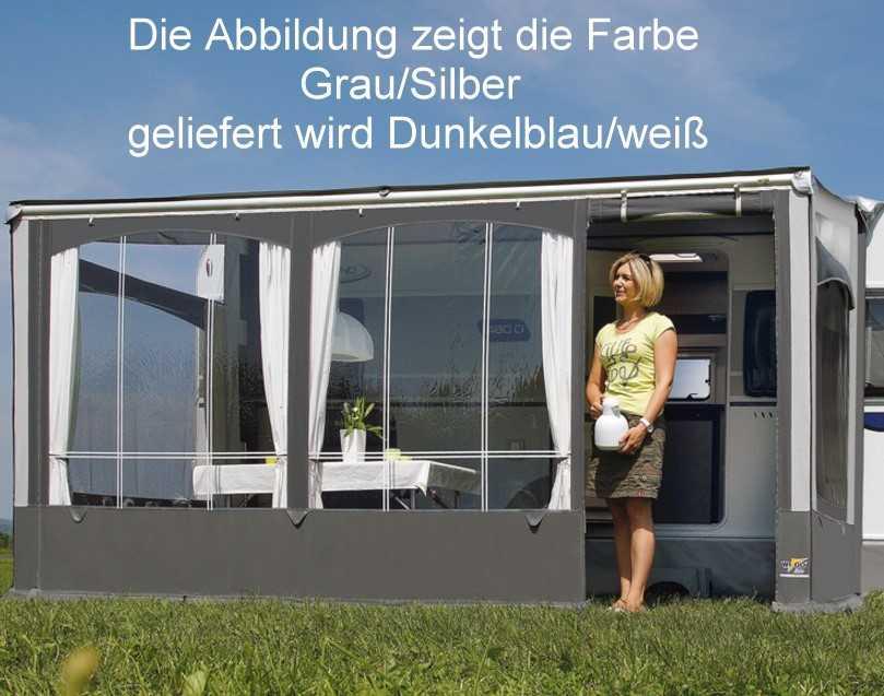 Wigo Vorderwand für Rolli Premium 4m Dunkelblau/Weiß   4041431939459