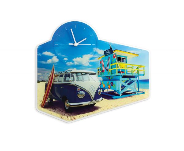 VW T1 Bulli Bus Wanduhr Beach Life aus Acrylglas
