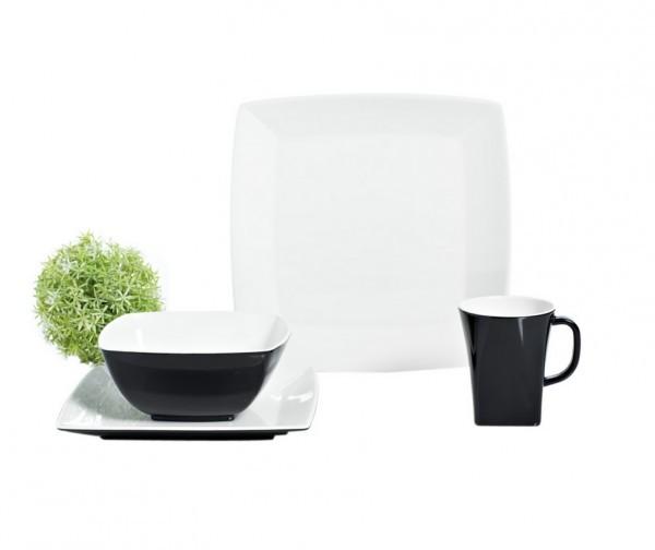 Quadrato schwarz und weiß Geschirr-Set 16-teilig