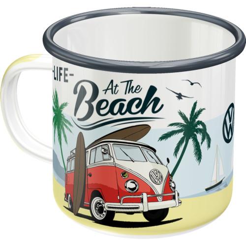 VW Bulli T1 Retro Emaille-Becher Beach