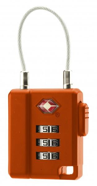 TSA Zahlenschloss mit Stahlseil orange