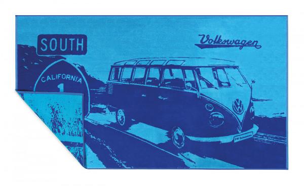 VW Bulli T1 Strandtuch Strahlen Highway 1 blau