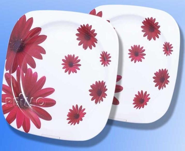 Melamin Teller Set Red Flower 2 Stück | 4043729114289