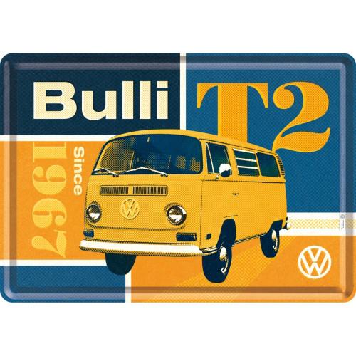 VW T2 Bulli Blechpostkarte