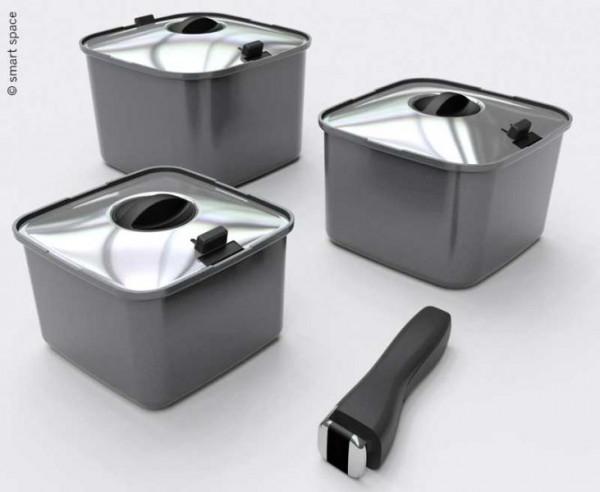 SmartSpace Cookware - Stapelbares Topfset 10-teilig