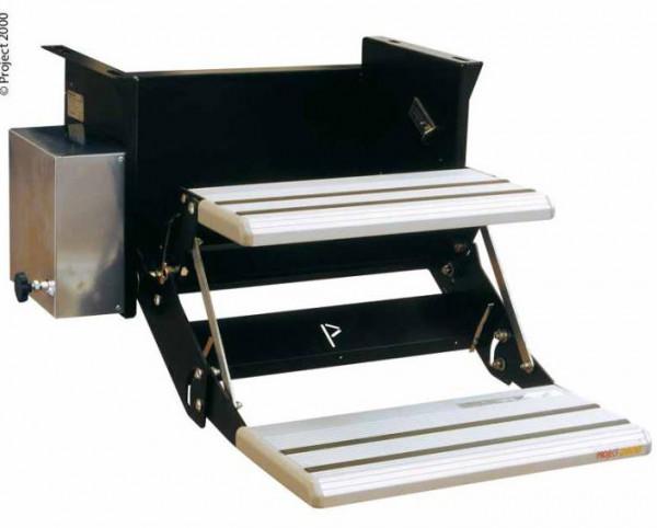 Elektrische Doppeltrittstufe 48 cm breit Motor links