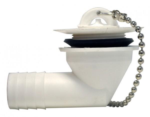 Wasserauslauf abgewinkelt weiß 90° kurz für 19 mm Schlauch