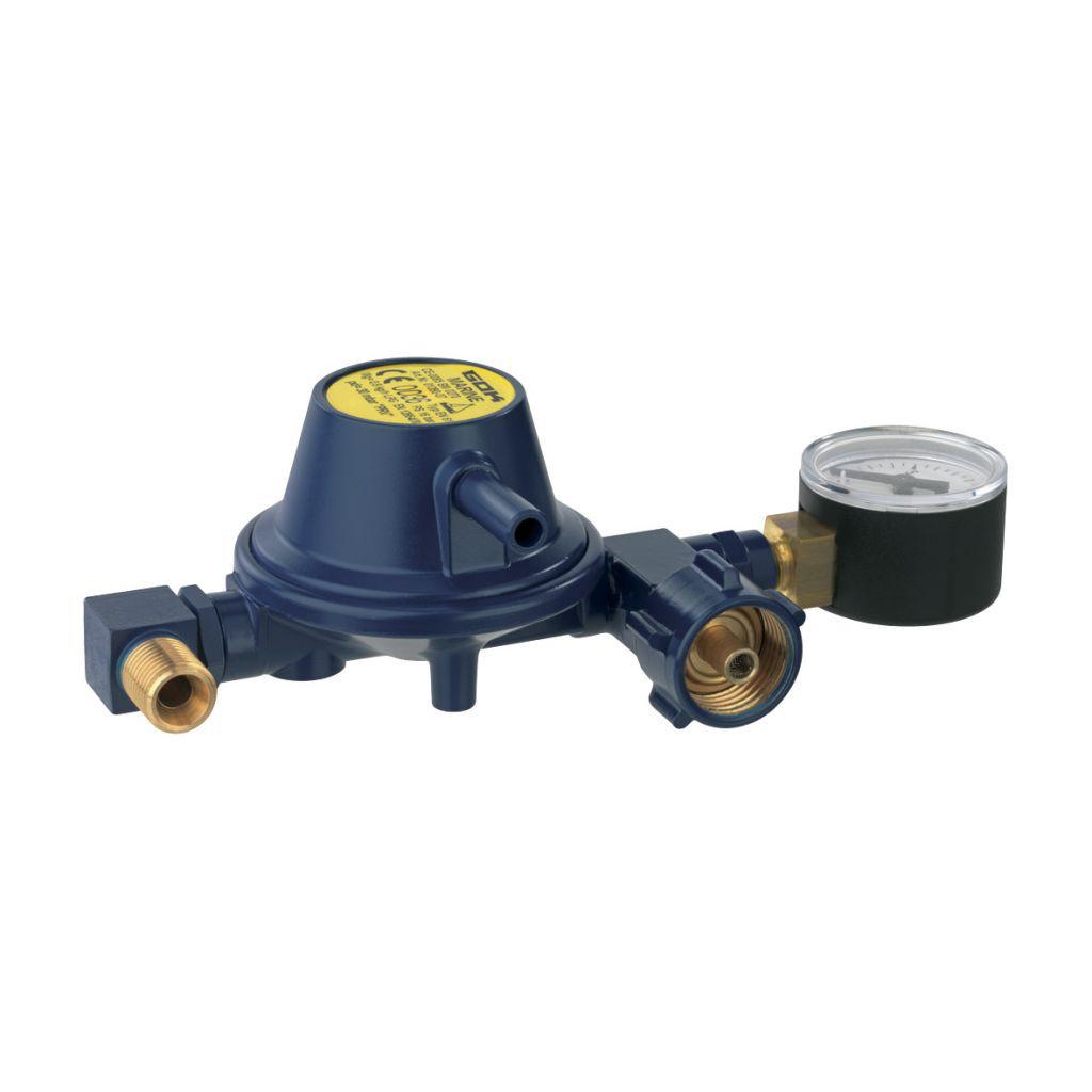 Gok Niederdruckregler Marine EN6130 mbar mit Manometer Abgang seitlich | 4045659489796