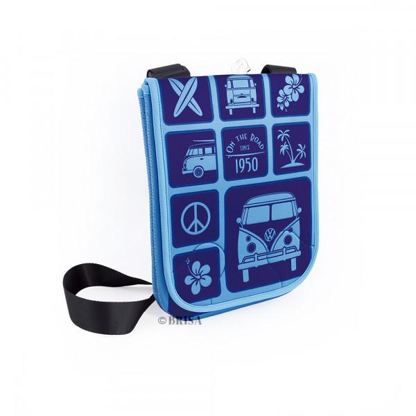 VW Bulli T1 Neopren Schultertasche klein für Tablet PC Surf blau