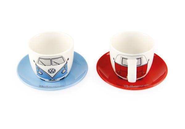 VW Bulli T1 Espresso Tassen 2er Set 100 ml Front rot & blau