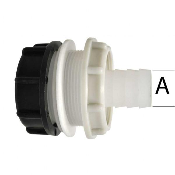 Tankanschluss mit Kontermutter und Schraubkappe 30 mm