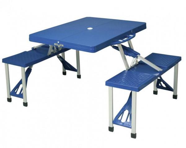 Koffertisch Picknick Set blau