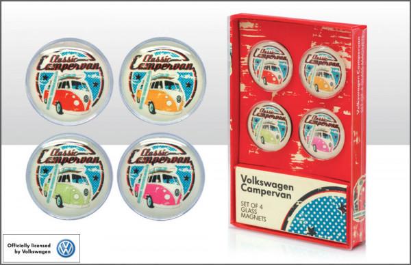 VW Bulli T1 Magnete aus Glas 4-er Set Classic Camper