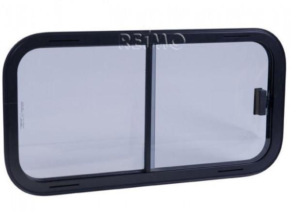 Sicherheitsglas Schiebefenster, Rahmen schwarz, 500x450 mm