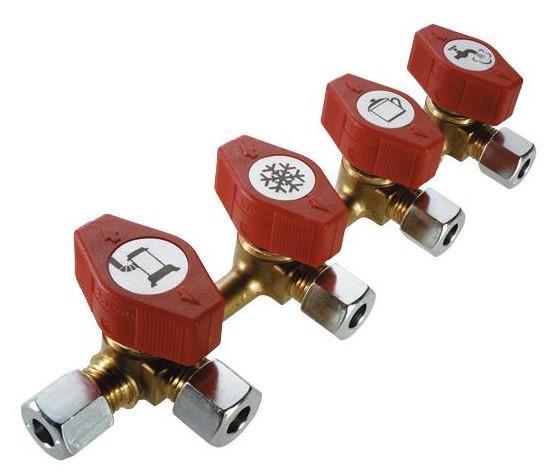 Gas Verteilerblock mit 4 Abgängen 10 mm