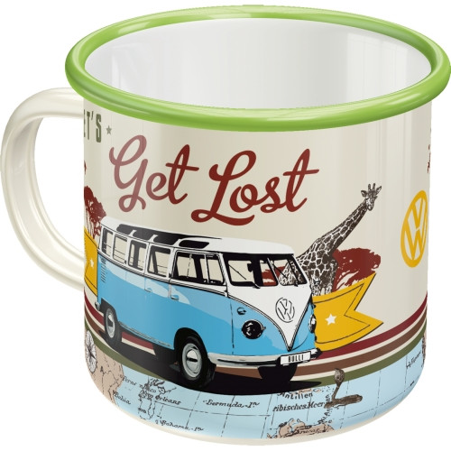 VW Bulli T1 Emaille Becher Let's Get Lost