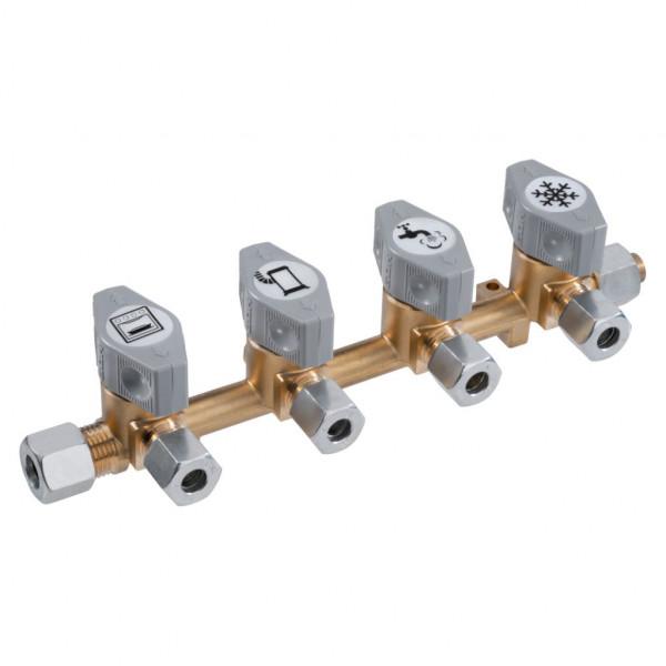 Gas Verteilerblock mit 4 Abgängen 8 mm