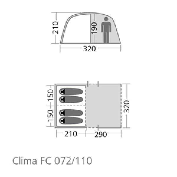 Familien-Tunnelzelt 4-5 Personen Clima FC