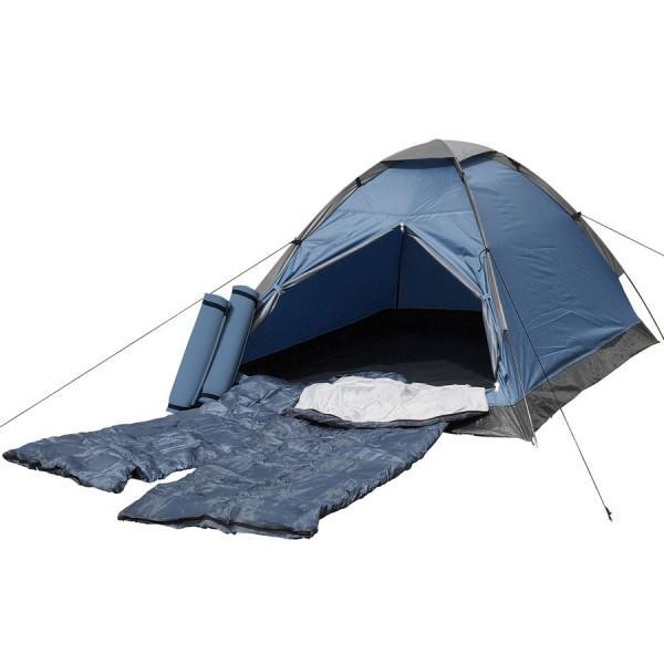 Trekkingzelt mit Schlafsack und Isomatte