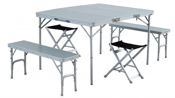 Easy Camp Picknick Garnitur Dijon Tisch, 2 Bänke und 2 Hocker