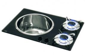 Can Spüle-Kocher Kombination 2 flammig 600x420 mm