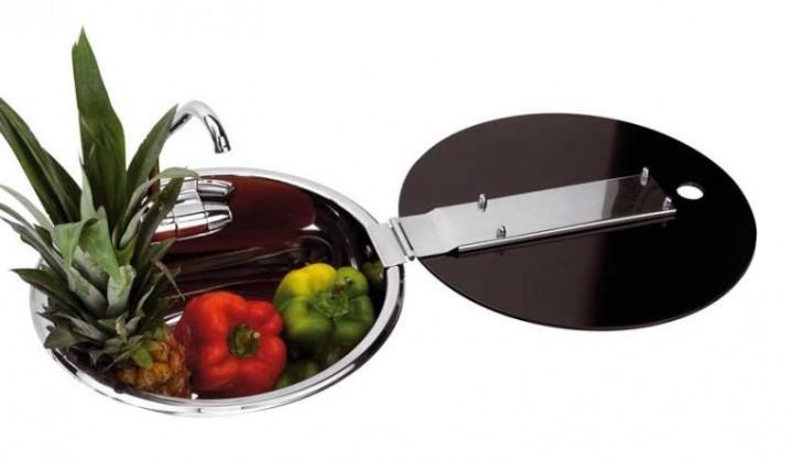Can Spüle Edelstahl mit Glasabdeckung und Wasserhahn 30 cm