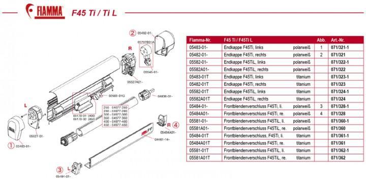 Fiammastore F45 Ti L 550 de Luxe Grey Gehäuse Titanium