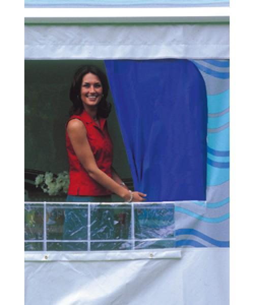 Gardinen für Safari-Rooms Satz Gardinen ab Markisenlänge 5,00m, Uni-Blau