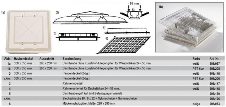 Fliegengitter für HARTAL Dachhaube 280 x 280 mm