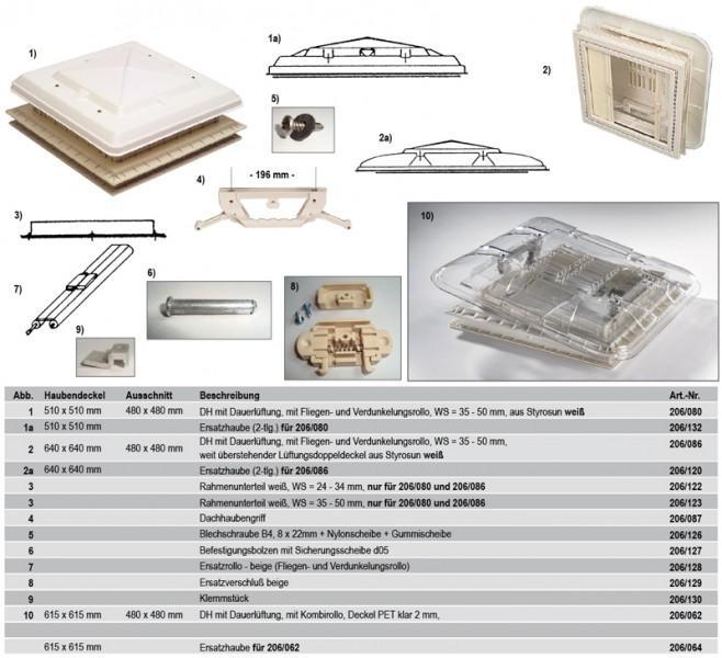 Ersatzhaube für Hartal Dachhaube 480 x 480 mm