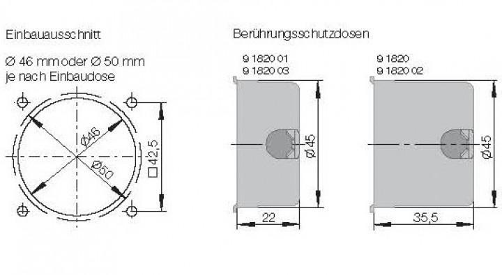 Einbaudose mit Zugentlastung 35 mm tief