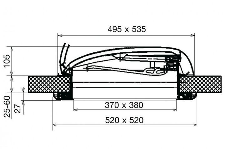 Dachhaube Mini Heki Plus 40 x 40 cm 43 - 60 mm mit Zwangsentlüftung
