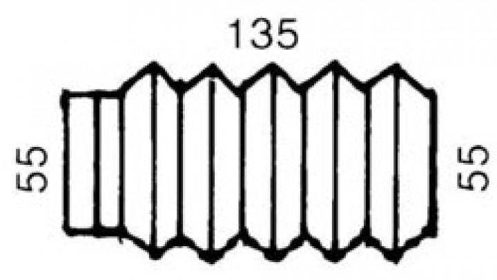 Faltenbalg 135 x 55/55 mm GRAU-Bremse