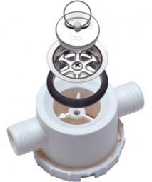 Ablaufarmatur doppelt, mit abschraubbarem Siphon, Ablauf 25mm