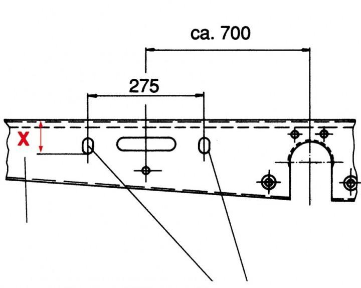 Nachrüstsatz für Chassis ohne Bohrung für ALKO-Ersatzradhalter