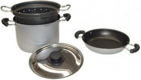 Alu-Kochset mit Edelstahldeckel 4-teilig