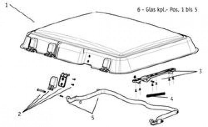 Ersatzteile für MIDI-HEKI - Blende Bügelantrieb kpl. mit Anbauteilen (links/rechts)
