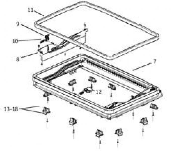 Ersatzteile für MIDI-HEKI - Innenrahmen kpl. (Pos. 19 bis 24) nur Elektroversion