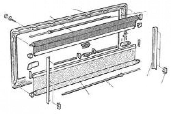 Verdunkelungsrollo grau 650 x 300 mm für S-3 + S-4