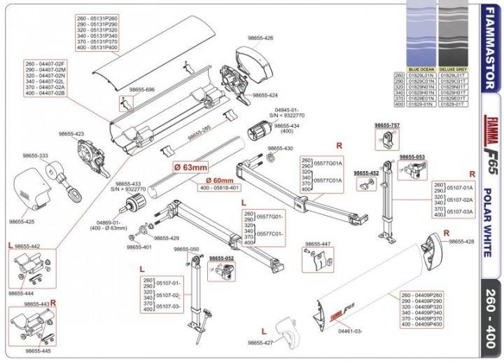 Ersatzteile F 65 - Frontblendenverschluss rechts weiß