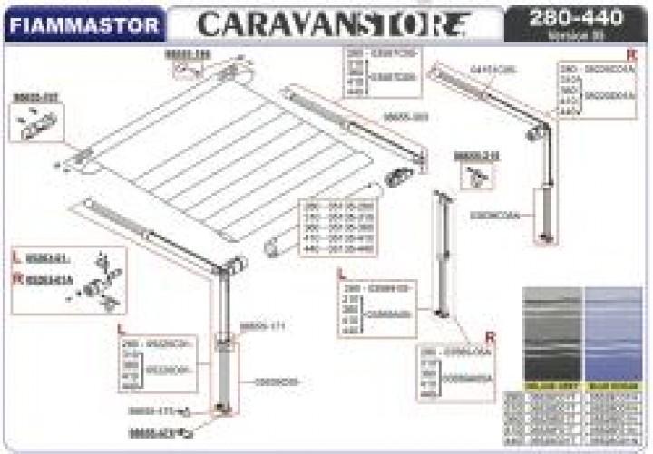 Spannstange und Stützfuß rechts für Caravanstore 05