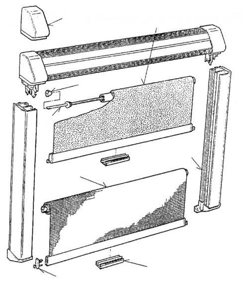 Ersatzteile für Rastrollo 2000 - Verdunklungs - Rollostoff genäht mit Keder beige