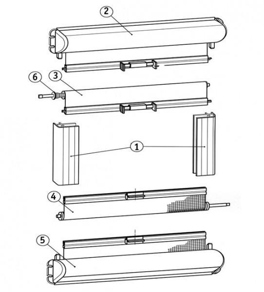 Führungsschiene grau-weiß Mini-Doppelkassettenrollo 1302